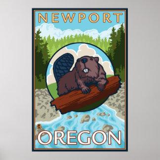 ビーバー及び川-ニューポート、オレゴン ポスター