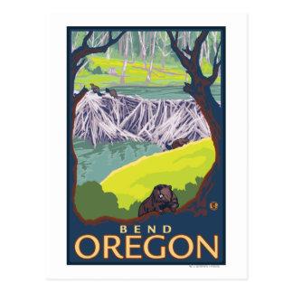 ビーバー家族-くねり、オレゴン ポストカード