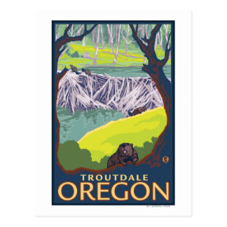 ビーバー家族- Troutdale、オレゴン ポストカード