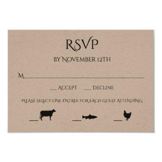 ビーフの魚の鶏3の入場上等の結婚RSVP カード