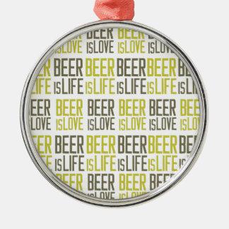 ビールあ愛ビールあ生命パターン茶色黄色い メタルオーナメント