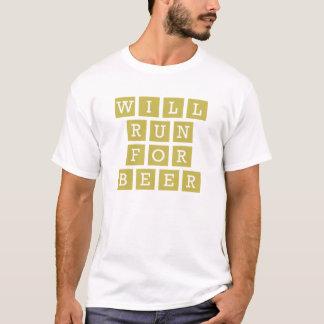 ビールおもしろいなタイポグラフィの黄色のために走ります Tシャツ