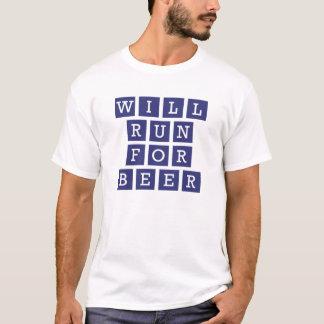 ビールおもしろいなタイポグラフィ海軍のために走ります Tシャツ