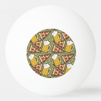 ビールおよびピザグラフィックパターン 卓球 玉