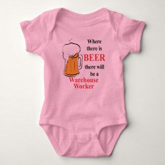 ビールがあるところで-労働者を貯蔵して下さい ベビーボディスーツ