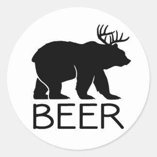 ビールくまのおもしろいなユニーク ラウンドシール