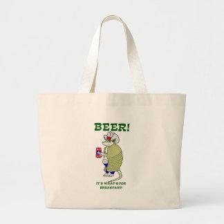 ビールそれはであるものが朝食のためです ラージトートバッグ