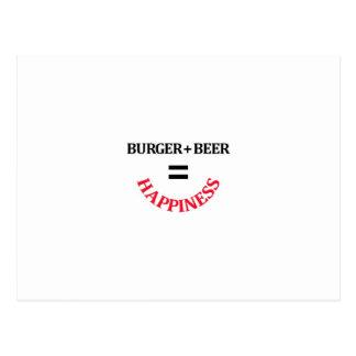 ビールとハンバーガーは幸福に匹敵します ポストカード