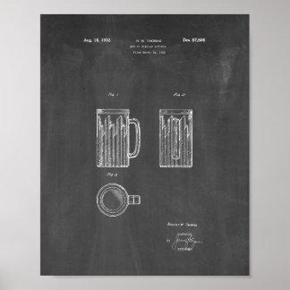 ビールのジョッキのパテントのためのデザイン-黒板 ポスター