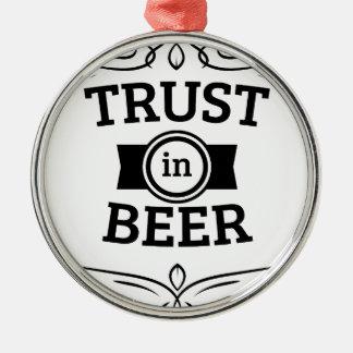 ビールの信頼 シルバーカラー丸型オーナメント