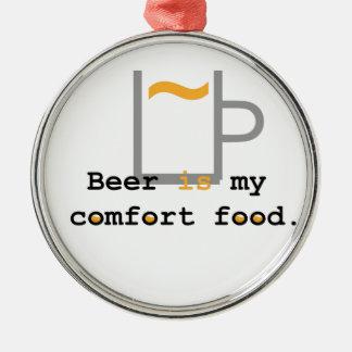 ビールは私の心地よいの食糧です メタルオーナメント