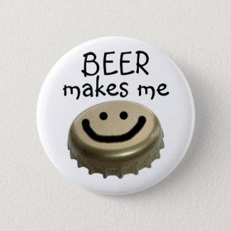 ビールは私を幸せにさせます! 缶バッジ