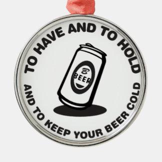ビールを冷たい持ち、握って下さい シルバーカラー丸型オーナメント