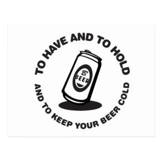 ビールを冷たい持ち、握って下さい ポストカード