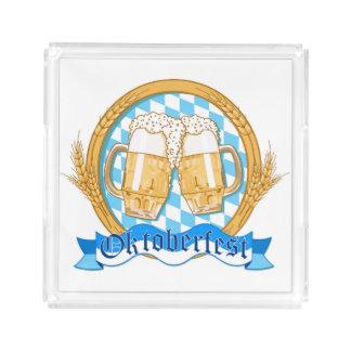 ビールガラスとのオクトーバーフェストのラベルのデザイン アクリルトレー