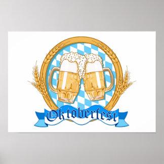 ビールガラスとのオクトーバーフェストのラベルのデザイン ポスター