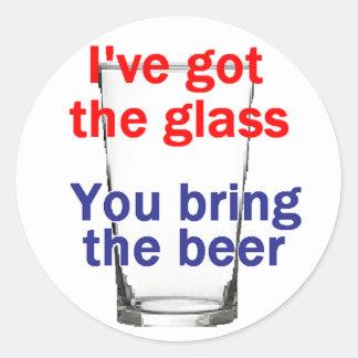 ビールガラスのステッカー ラウンドシール