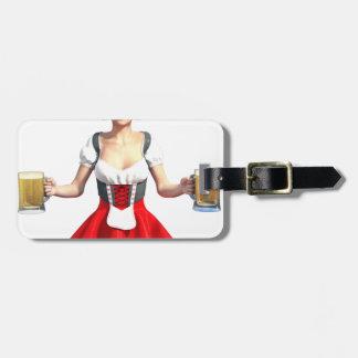 ビールジョッキを持つオクトーバーフェストの女の子 ラゲッジタグ