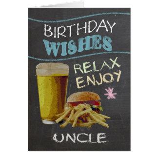 ビールハンバーガーとのTrendy叔父さんの黒板の効果、 グリーティングカード