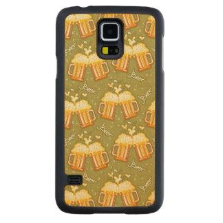 ビールパターンのガラス CarvedメープルGalaxy S5スリムケース