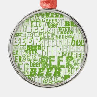 ビールパターン背景 メタルオーナメント