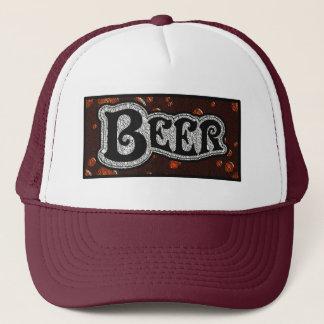 ビールロゴ-赤かBlackTextureの一見 キャップ