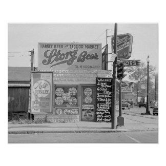 ビール及びアルコール飲料Market 1938年。 ヴィンテージの写真 プリント