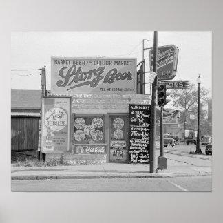 ビール及びアルコール飲料Market 1938年。 ヴィンテージの写真 ポスター