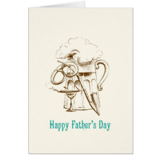 ビール及びプレッツェルの父の日カード グリーティングカード