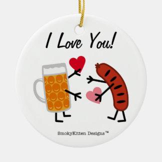 ビール及びBratwurst - I愛! バレンタインのハート セラミックオーナメント