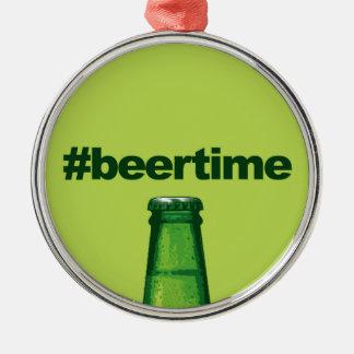 ビール時間 シルバーカラー丸型オーナメント