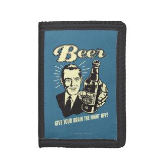 ビール: あなたの頭脳に夜を与えて下さい ナイロン三つ折りウォレット