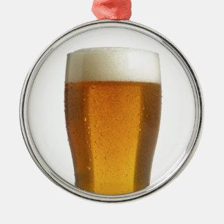 ビール シルバーカラー丸型オーナメント