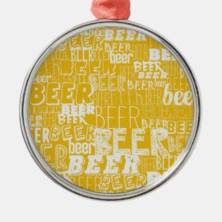 ビール、ビール、ビール シルバーカラー丸型オーナメント