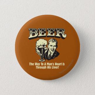 ビール: 方法はレバーを通してハートに人を配置します 5.7CM 丸型バッジ