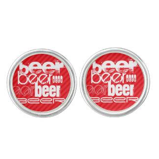ビール; 深紅の赤のストライプ カフスボタン