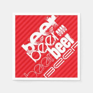 ビール; 深紅の赤のストライプ スタンダードカクテルナプキン