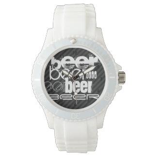 ビール; 黒及びダークグレーは縞で飾ります 腕時計