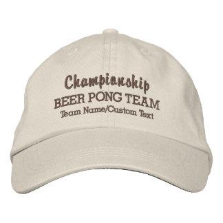 ビールPongのおもしろいなチーム飲むゲームの名前をカスタムする 刺繍入りキャップ
