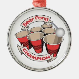 ビールPongのチャンピオンのギフト シルバーカラー丸型オーナメント
