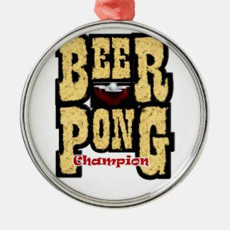 ビールPongのチャンピオン メタルオーナメント