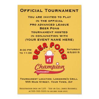 ビールPongのトーナメント(パーティ) 12.7 X 17.8 インビテーションカード