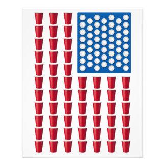 ビールPongの飲むゲームの米国旗 チラシ