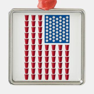 ビールPongの飲むゲームの米国旗 メタルオーナメント