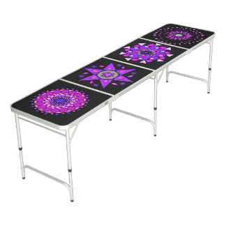 ビールPongの黒いピンクの紫色のネオン幾何学的なテーブル ビアポンテーブル