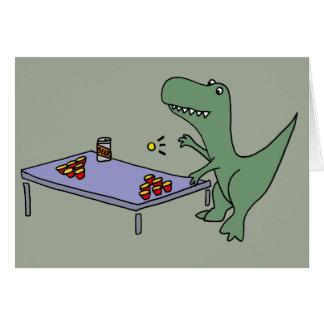 ビールPongを遊んでいるおもしろいなTレックスの恐竜 カード