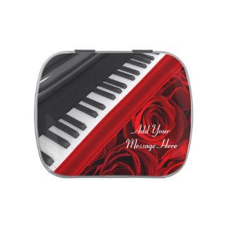 ピアノおよびバラ キャンディー缶