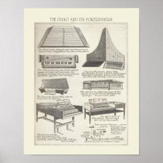 ピアノのヴィンテージの図表 ポスター