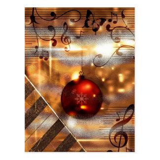 ピアノの教師のクリスマスの郵便はがき ポストカード