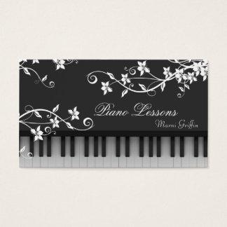 ピアノの教師のレッスン名刺の花の渦巻 名刺